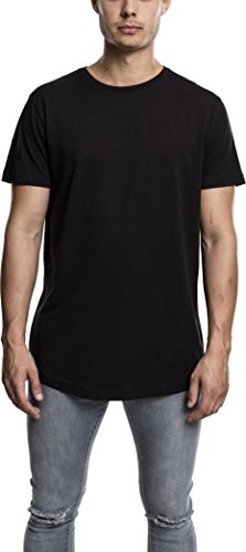 Urban Classics TB638 Herren T-Shirt Shaped Long Tee mit Rundhals, Schwarz (Black 7), Large