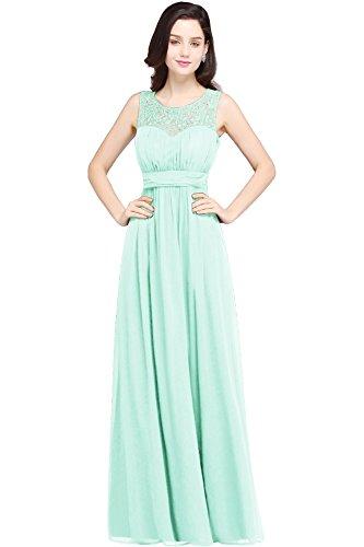 Damen Elegant A-Linie Abiballkleid Chiffon Abschlussballkleid Lang Mint Grün 36 - Für Mint Grün-kleid Frauen