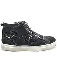 Nero Giardini - Sneakers Alte Bambina Ragazza in camoscio e Glitter - Blu  Serena A621740F   22a1b159a43