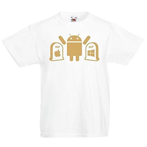 Kinder T-Shirt Der Gewinner ist Android - Geschenk für Tech-Fans (3-4 years Weiß Gold)