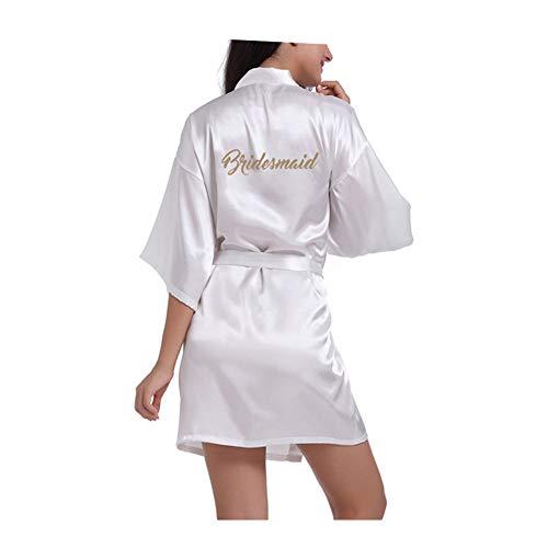 Morbuy Damen Braut Brautjungfer Robe Pure Farbe Satin Weiche Kimono Hochzeitsfeier Robe Silk Kleid Morgenmantel (M, Bridesmaid Weiß) (Damen Silk Robe)