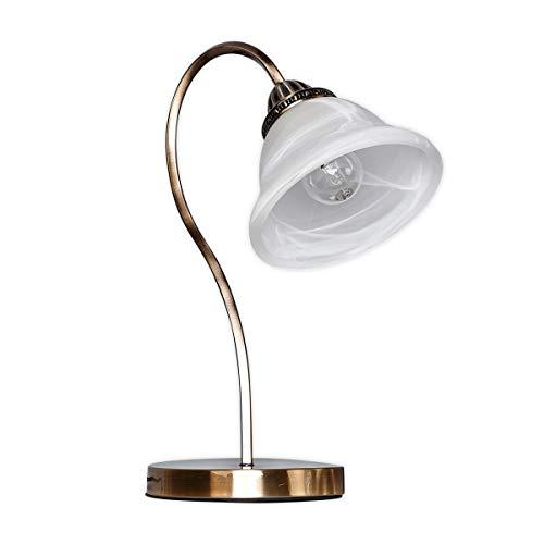 Bronze-glas-tisch (Lampenwelt LED Tischlampe 'Mialina' in Bronze aus Glas u.a. für Wohnzimmer & Esszimmer (1 flammig, E27, A++) - Tischleuchte, Schreibtischlampe, Nachttischlampe, Wohnzimmerlampe)