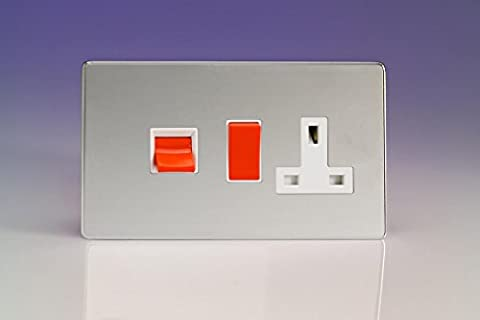 Varilight 45A Cooker Panel with 13A Double Pole Switched Plug Socket Outlet (Red Rocker) Polished Chrome