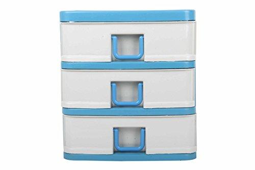 Schubladen-Einheit, Kommode, 3 Schubfächer, robuster Kunststoff, klein, Stauraum, Organizer, geeignet für Büro, Kosmetik, Nähen. Cremefarben mit Schwarz/ Blau/ Grau. blau (Kommode Schubladen Kunststoff)