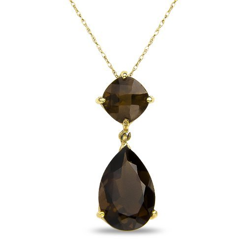 womens-smokey-quarts-drop-pendant-complementary-chain-in-10k-yellow-gold-by-nissoni-jewelry