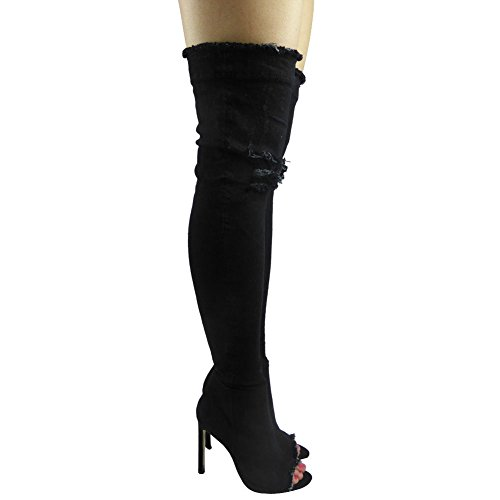 donna aderenti, alti sopra al ginocchio Jeans punta aperta tacco a Spillo Stivali numero 3-8 nero jeans