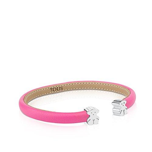 Imagen de tous brazalete esclava en piel rosa y plata de primera ley, diámetro 16 cm, osos 0,7 cm