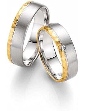 CORE by Schumann Design Trauringe/Eheringe aus 585 Gold (14 Karat) Gelbgold/925 Silber Bicolor mit echten Diamanten...