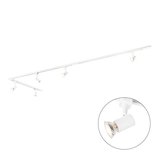 QAZQA Modern Modernes Schienensystem/Spotlight/Deckenspot/Deckenstrahler/Strahler 5-flammig 1-Phase weiß - Jeany/Innenbeleuchtung/Wohnzimmerlampe/Küche Aluminium/Stahl Länglich LED geei -