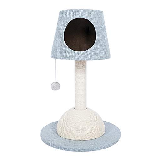 DWW Moderne Katze Baum Kätzchen Castle Tischlampe Stil, 100% Kratzbäume und Plüsch Spielzeug Ball, stabil und langlebig, 30 Zoll hoch, Beige, Blau, Grün (Farbe : Blau) -