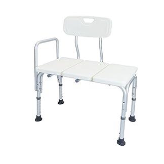 Cablematic – Asiento de bañera antideslizante regulable en altura con resposabrazos para personas mayores