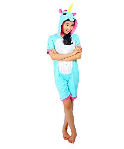 Kenmont Unicorn Pijamas Traje Disfraz Adulto Animal Pijamas Cosplay Halloween Verano (M: 155-165cm, Azul Unicornio)