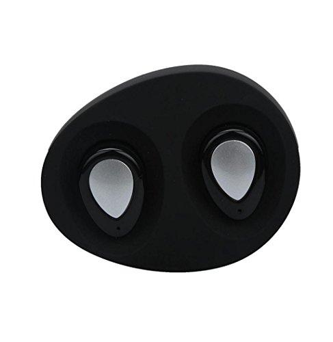 Koly 2 PC Bluetooth 4.1 Mini en la oreja los auriculares inalámbricos de deportes de cabeza estéreo del auricular,Negro