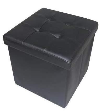 HomeHarmony® Quilted Top Folding Storage Ottoman Seat, Stool, Toy Storage Box Faux Leather (Black, Medium)