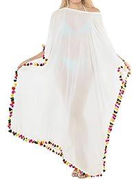 LA LEELA Halloween Costume pompón para Mujer de la Playa de Hombro Vestido de Traje de