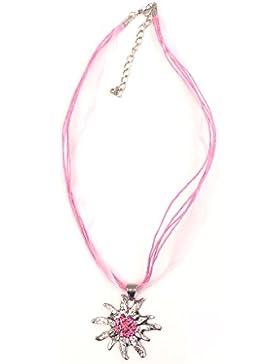 Trachten Halskette Edelweiß Strass rosa