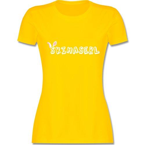 Après Ski - Skihaserl - tailliertes Premium T-Shirt mit Rundhalsausschnitt für Damen Gelb