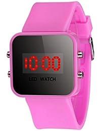 Sannysis® Pantalla LED Digital correa de silicona reloj del deporte Rosa