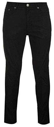 Da uomo in cotone Chinos Bedford Cord pantaloni Black 32W/Regular