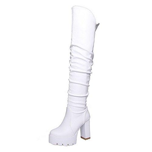 VogueZone009 Donna Luccichio Alta Altezza Puro Tirare Tacco Alto Stivali Bianco