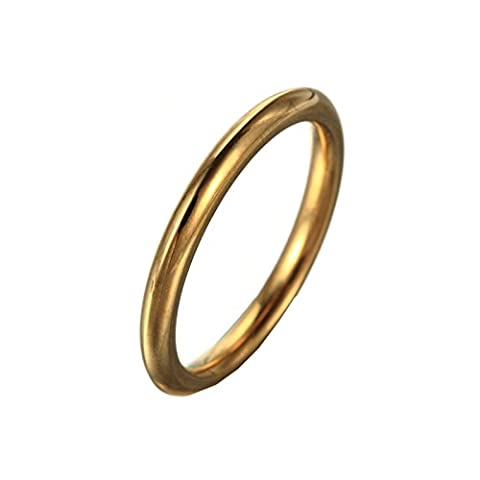 HIJONES Women's Stainless Steel Round Wire 1mm Plain Thin Band Ring Gold Size 7