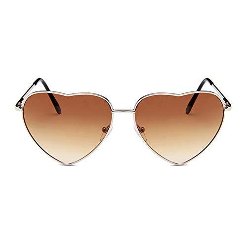 YLNJYJ Liebe Herz Sonnenbrille Frauen Retro Gradienten Metallrahmen Sonnenbrille Markendesigner Vintage Lunette De Soleil Femme