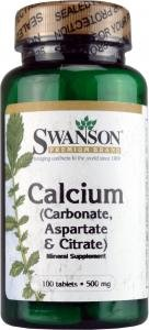 Swanson Calcium (Carbonate, Aspartate & Citrate) 500mg, 100 Tablets from Swanson Health Products
