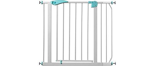 IB-Style - BERRIN Treppengitter / Türgitter zum Klemmen | Erweiterbar durch Verlängerungen | 75 - 175 cm | Auto-Close - automatisches Schließen | Tür mit 90° Stop-Funktion | Einhand-Bedienung | Öffnen in beide Richtungen möglich | Metall Weiß-Türkis | Spannbreite 85 - 95 cm - 2