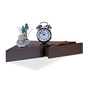 Relaxdays Corner Floating Shelf, Triangular Bookcase, 2 Drawers, Invisible Fixture, MDF, Brown, 30 x 60 x 8 cm