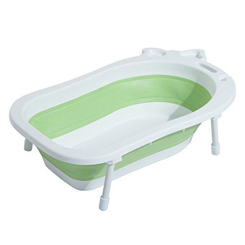 Homcom® Babybadewanne Babywanne zusammenklappbar mit Stützbeinen Seifenablage 89cm (Grün)