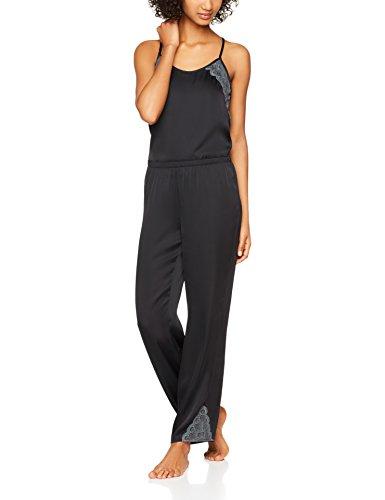Iris & Lilly Damen Schlafanzughose mit Spitzensaum Schwarz (Black Beauty)