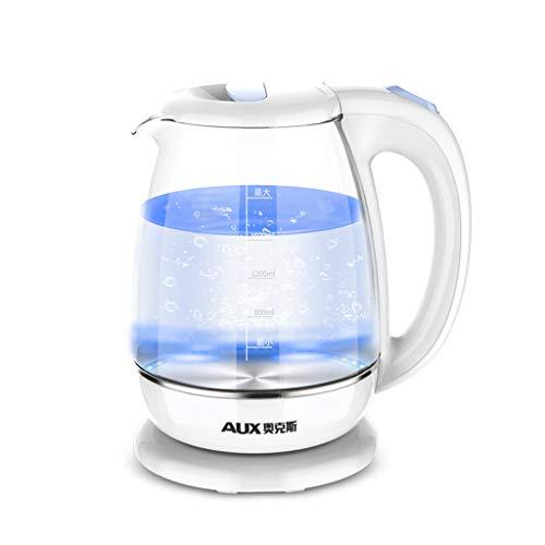 Fenfen acoplador de Cristal inalámbrico hervidor de iluminación Azul LED 1.8L, 1500W, Color Blanco