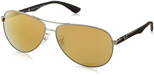 Ray Ban Unisex Sonnenbrille, RB8313 004/N3 61, Gr: 61, Schwarz (Gestell: schwarz (shiny), gunmetal Glas: polarisiert braun verspiegelt 004/N3)