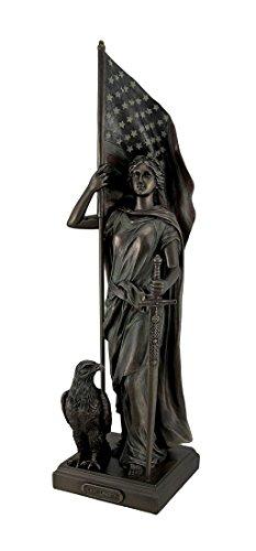 Zeckos Bronze Finish Lady Liberty, American Flagge Statue -