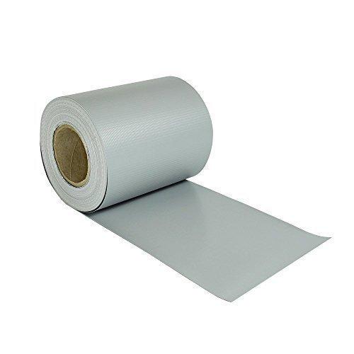 Hochwertige Rapid Teck® PVC Sichtschutzstreifen Rolle 35m x 0,19m (Hell Grau RAL 7040) blickdicht Sichtschutz Zaunblende Zaunfolie Windschutz inkl. Klemmen