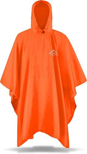 Circle Five Erwachsenen Premium Outdoor Rip-Stop Regenponcho Regencape mit Kapuze für Herren und Damen - 100{bb4e0e35d8059d5b260cb9cebd8873b2262934a482debf25051a51a88bb17fed} Wasserdicht (Wassersäule: 6000 mm) - inkl. Transportbeutel Farbe Orange