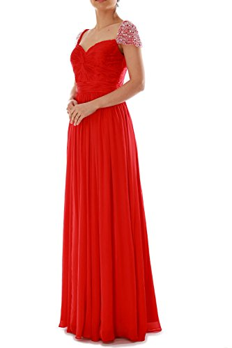 MACloth Women Cap Sleeves Long Ball Gown Evening Formal Prom Dress Wedding Party Türkis