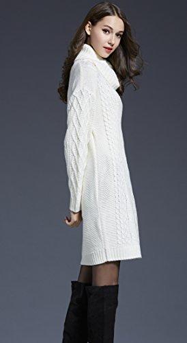 BELLA-Donna Maglione Lungo Pullover Collo Alto Sweater Bianco