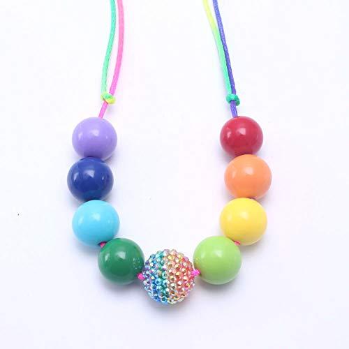 AISHIPING Bubblegum Halskette Regenbogen Perlen Halskette Verstellbares Seil Acryl Perlen Schmuck Für Mädchen