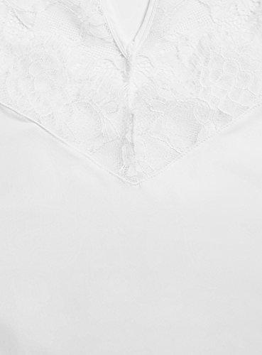 oodji Collection Damen Mikrofaser-Camisole mit Spitzenbesatz Weiß (1000N)