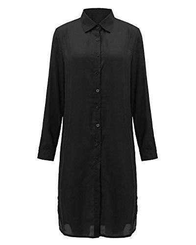 ZANZEA Damen Langarm Chiffon Transparente Split Langshirt Bluse Top Mini Shirtkleid Schwarz