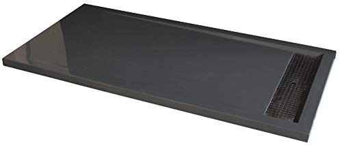 duschwanne 120 Mineralguss Duschtasse rechteckig 12090BG Edelstahl - Grau glänzend - 120x90x4,5cm