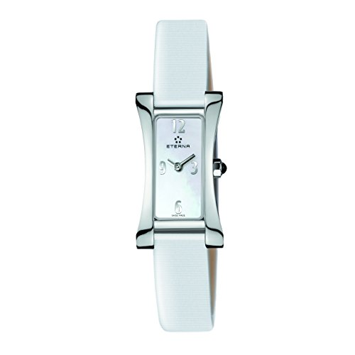 Eterna Women's Quartz Watch with White Dial Analogue Display and White Leather Strap 2610.41.10.1375