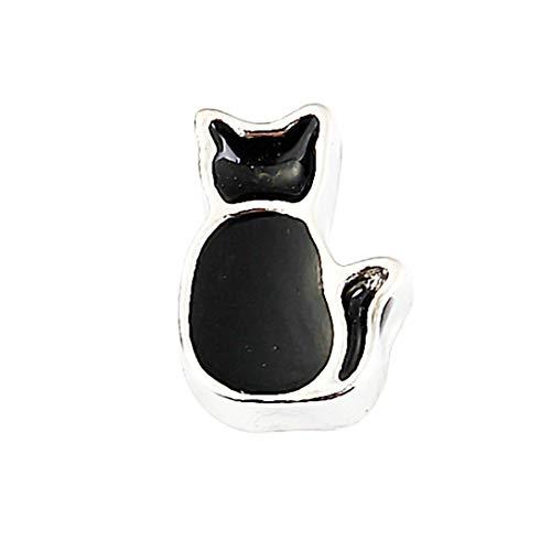 AKKi jewelry Element für Medaillon Kette,Petite Charms Elemente Pandora Style kompatibel Locket Memories Damen Schmuck Set Angebot Katze