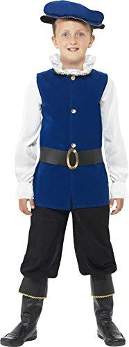 Tudor Jungen Kostüme (Smiffys Kinder Tudor Junge Kostüm, Oberteil, Hose mit Überstiefeln, Gürtel und Mütze, Größe: M,)