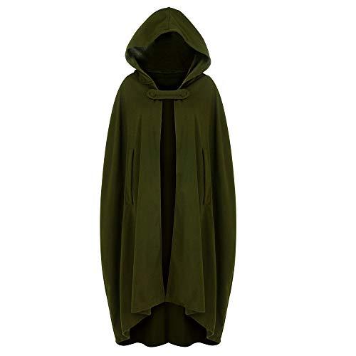 Zimuuy Damen Kleider Karneval Kostüm Mittelalter Kostüm Luxuriös Kostüm Trenchcoat Cardigan mit offener Vorderseite Mantel Mantel Cape Poncho (Armeegrün, L)