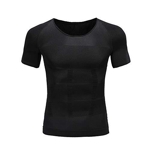 BaronHong Gynécomastie Poitrine Binder Hommes Shapewear Tummy Control Slimming Underwear Shirt (Noir, XL)
