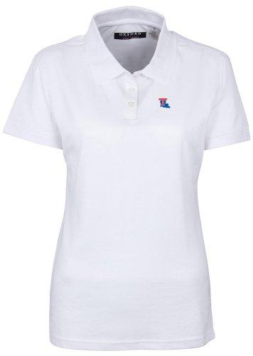 Oxford NCAA Louisiana Tech Bulldogs Damen Poloshirt mit 3 Knöpfen und Ärmeln, Größe XXL, Weiß -