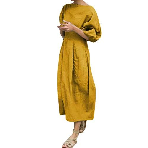 Supertong Sommerkleid Damen Baumwollkleid Rundhals Kurzarm Kleid Beiläufige Langarm Große Größe Lose Maxikleider Casual Vintage Langes Kleid Einfarbig Boho Strandkleid (Korean Slim Women Plus Größe Kleid)