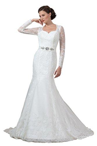 Clocolor mujeres de encaje sirena larga mangas boda vestidos 2016novia fiesta blanco Marfil 46